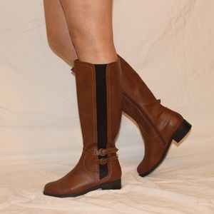 Shoes - New Brown Knee High Buckle Leather Riding Boot 👢